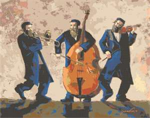 Original artwork by Nechama Shaish available in needlepoint.  Three Chasidim playing traditional Jewish music.