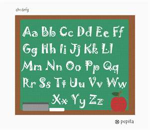 An alphabet needlepoint canvas perfect for a teacher.  Stitch this as a gift for your favorite teacher.  The eraser, chalk and apple rest on the bottom.