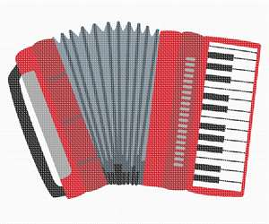 A shiny red accordion in needlepoint