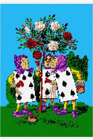 Two, Five, and Seven painting the rosebush, based on the original classic by Lewis Carroll.