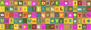 The alphabet, numerals, and an assortment of symbols in wild colors.