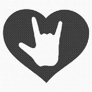 The American Sign Language symbol for I Love You, surrounded by a heart shape.