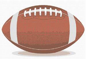 An American football, shaped as a spheroid with pointy ends, in classic colors.
