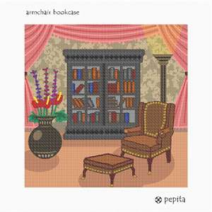 A comfortable armchair, an ottoman, and a well-stocked bookcase, gather together in this warm living room.