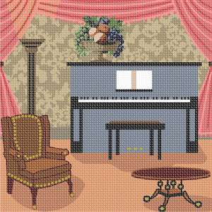 A comfortable armchair, a coffee table, and an upright piano, pose together in this living room scene.