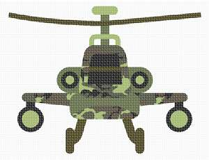 A helicopter toy in needlepoint. Stitch for a boy's room, or gift this simple project to a beginner needleponiter.
