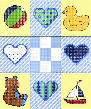 "Collage of 9 tiles, containing baby-boy themed art. Stitch this as baby shower gift.  The center square is perfect for the baby's name and birthday.  These are favorite baby boys items"" a beach ball, rubber duckie, teddy bear, and a sailboat."