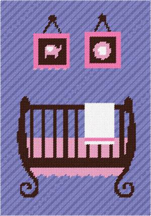 Decor for a baby nursery. Stitch a crib along with two wall hangings of a flower and elephant.