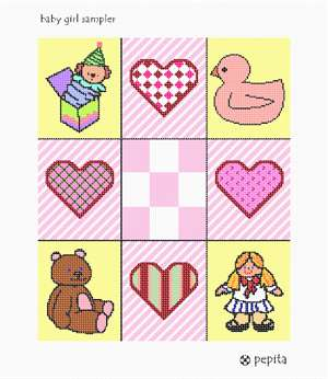 Collage of 9 tiles, containing baby-girl themed art.