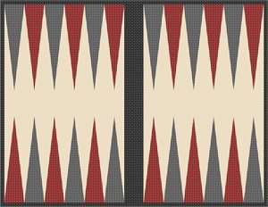 Backgammon board, cherry and charcoal triangles on off-white background.