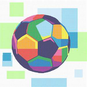 A soccer balls in bright colors