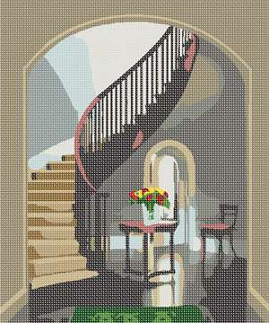 A winding banister in a marble living room scene.