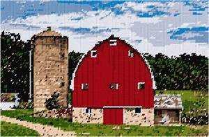 A classic red barn and silo