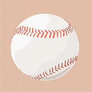 The ball used in the sport of the baseball. It features a cork center, wrapped in yarn and covered with two strips of white horsehide or cowhide, tightly stitched together.