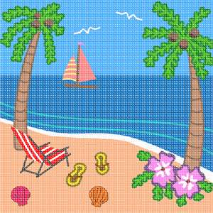 A scene at a sunny tropical beach. Palm trees, flip flops, a beach chair, and shells adorn the sand.  A sailboat drifts in the distance.