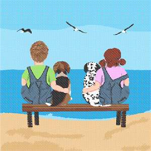 Oh, those innocent days of childhood. This nostalgic design takes you back in time... This is part of a series. A Dalmatian and Beagle Puppy watch the birds flying over the ocean with their beloved owners.