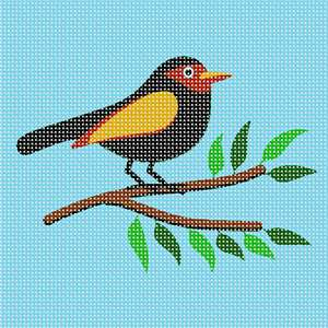 Simple black bird perched on a branch ready for a beginner to stitch