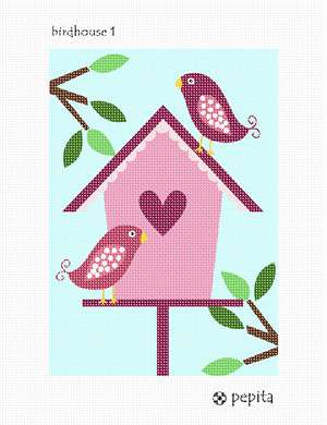A lovely birdhouse with branches and leaves in heart themes and colors.
