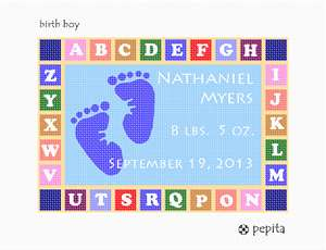 Birth announcement for a boy. Little foot imprints on baby blue background, framed in colorful alphabet blocks.