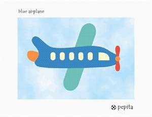 A blue airplane flying in the sky.  See coordinating designs that are delightful for a boy's bedroom decor.
