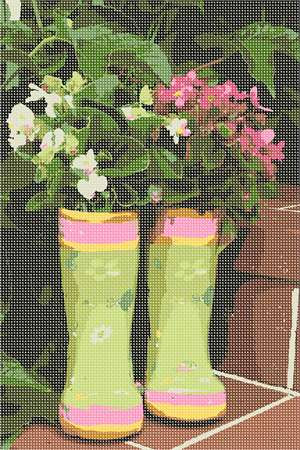 Plants thrive in a pair of boots vase. Flowers and floral design are among the most popular needlepoint designs. People have been stitching flowers and floral motifs for hundreds of years.  Flowers are bright and pleasant, and most have underlying meanings to them.
