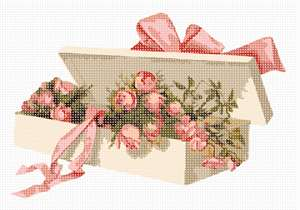 Flower box containing rose buds.