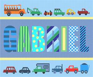 A needlepoint for a boy's room with a personalized name and a cars and trucks theme.  Perfect for baby nursery decor.