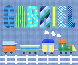 A needlepoint for a boy's room with a personalized name and a choo choo train theme.  Perfect for baby nursery decor.