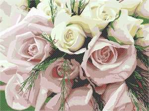 A fresh bridal bouquet to stitch.  A splendid gift for a bridal shower or for a mom for Mother's Day in lieu of a real bouquet.  Breathtaking roses in pale pink and ivory.