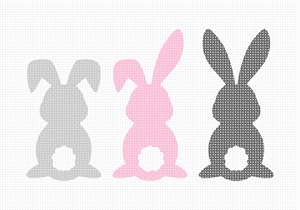 These adorable bunnies come with three tail pom pom embellishments to add after the needlepoint is stitched.  Includes white, grey, and pink pom poms (one of each)