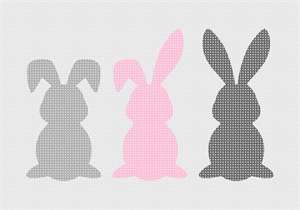 These adorable bunnies come with three tail pom pom embellishments to add after the needlepoint is stitched.  Includes white, grey, and pink pom poms (one of each).  They are the most adorable bunnies out there!