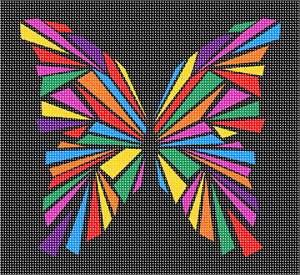 Butterfly in a stained glass pattern full of geometric shapes