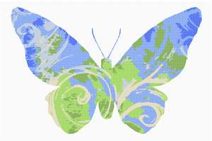 Swirls of ocean and earth adorn this butterfly.  Butterflies are deep and powerful representations of life. Around the world, people view the butterfly as representing endurance, change, hope, and life.