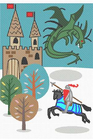 A castle surrounded by winter, and a mounted knight battling an airborne dragon.