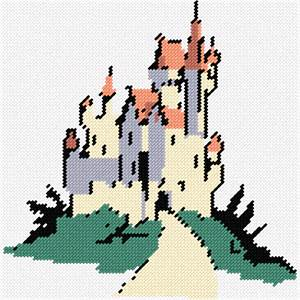 A stately castle rises high at the top of a lush green mountain.