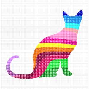 Due to popular demand, a second cat palette silhouette just for you. Enjoy stitching this upright cat in colorful hues with bright results. Perfect for a beginner and for anyone who loves both needlepoint and felines. Did you know that a cat's meow is used to communicate with humans, not other cats? Cats have more bones in their bodies than humans. Cats don't have a sweet tooth. Every cat's nosepad is unique – like a fingerprint. Cans can become addicted to tuna (no, not chocolate!). Cats groom themselves for over a third of the time they are awake.