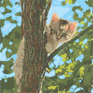 A cat up in a tree and resting peacefully on a branch