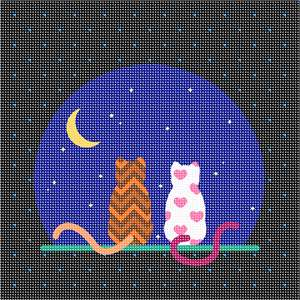Whimsical cat silhouette staring at the moon surrounded by stars. The chevron and heart print cats make this an adorable project for a beginner. This is a real fun and funky needlepoint design.