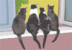 Four cats looking out the window together