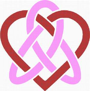 Celtic knots intertwined with a heart