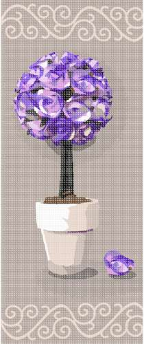 Rose topiary centerpiece in various shades of deep violet.