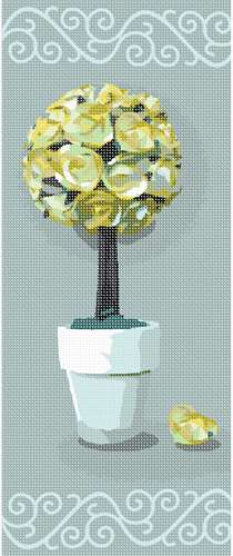 Rose topiary in startling shades of lemon.