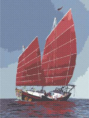 A chinese junk sailing majestically, her reflection upon the choppy waters.