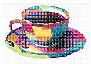 Geometric needlepoint of a cup and saucer in bright hues.  Why do we drink coffee? First, the caffeine in coffee helps to get people' blood moving and makes them feel energized. ... People tend to drink coffee at these gatherings whether or not they like it which eventually helps them to develop a taste for it and then it becomes addictive. Coffee drinkers say they drink coffee to relax.