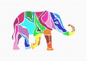 Elephants are popular in needlepoint. They are beloved by people both young and old. These magnificent mammals spend between 12 to 18 hours eating grass, plants and fruit every single day. They use their long trunks to smell their food and lift it up into their mouths. Elephants have created their very own sunscreen. After a river or swamp bath, they'll throw mud and sand up and over themselves to protect their skin from the hot burning sun.