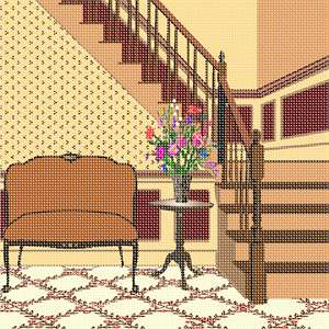 A classic couch, a side table with a flower arrangement, and a carpeted staircase. This design coordinates with others in our Home Sweet Home series. A house is made of walls and beams, a home is built with love and dreams. ...