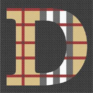 The capital letter D filled in with a camel tartan pattern.