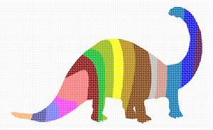 Outline of a dinosaur filled with colorful vertical stripes.