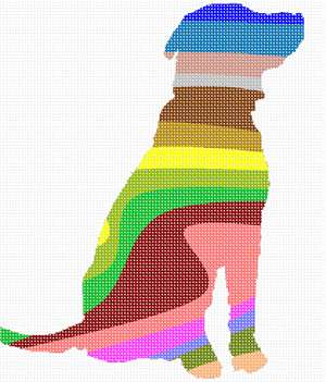 Silhouette of a patiently sitting dog, painted with wavy stripes of many colors.