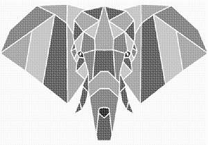 origami like elephant head in shapes of greys